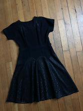Load image into Gallery viewer, vintage 1950s black rayon dress