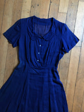 Load image into Gallery viewer, vintage 1940s blue dress