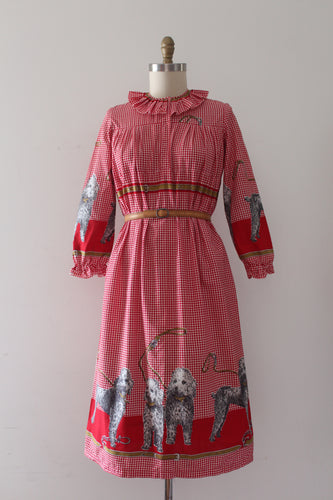 vintage 1960s novelty print John Wolf dog dress