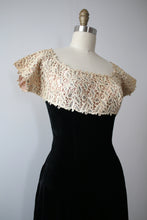 Load image into Gallery viewer, vintage 1940s velvet & lace dress