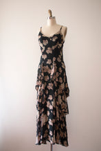 Load image into Gallery viewer, vintage 1920s 30s novelty leaf print evening dress