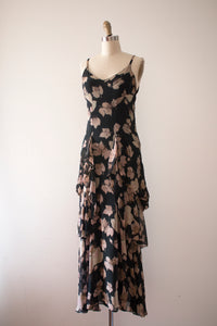 vintage 1920s 30s novelty leaf print evening dress