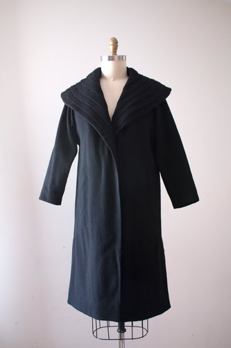 SALE vintage 1950s black wool coat
