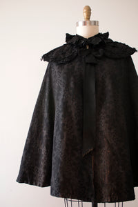 Victorian 1890s black Leaf cape