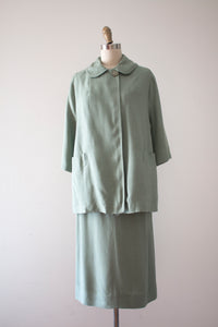 vintage 1950s mint green jacket and skirt set