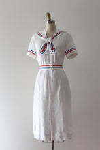Load image into Gallery viewer, vintage 1930s nautical linen dress