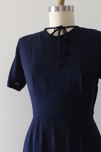 vintage 1940s navy blue rayon dress