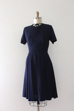 Load image into Gallery viewer, vintage 1940s navy blue rayon dress