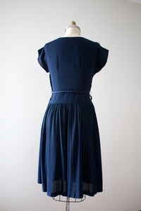 vintage 1940s navy blue textured rayon dress
