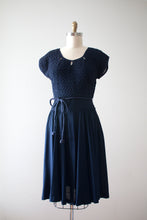 Load image into Gallery viewer, vintage 1940s navy blue textured rayon dress