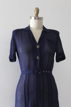 Load image into Gallery viewer, vintage 1940s navy blue dress