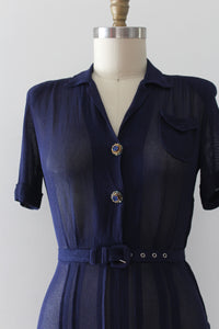 vintage 1940s navy blue dress