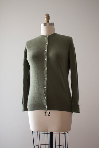 vintage 1960s green cashmere cardigan sweater