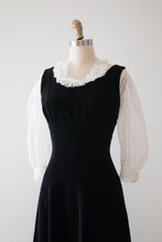 Load image into Gallery viewer, vintage 1950s black velvet dress