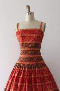 vintage 1950s orange cotton sun dress