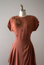 Load image into Gallery viewer, vintage 1940s beaded rayon dress