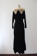 Load image into Gallery viewer, vintage 1930s black velvet evening gown