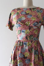 Load image into Gallery viewer, vintage 1960s leaf print dress