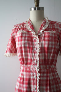 vintage 1930s pink plaid dress