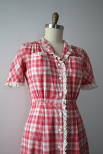 Load image into Gallery viewer, vintage 1930s pink plaid dress