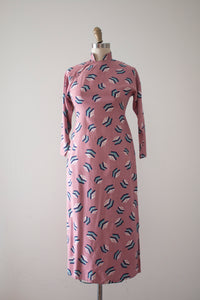 vintage 1940s novelty print Cheongsam dress