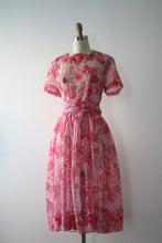 Load image into Gallery viewer, vintage 1950s pink floral sheer dress