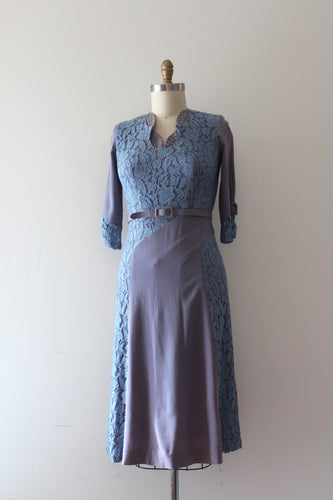 vintage 1940s rayon and lace dress with belt