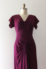 Load image into Gallery viewer, vintage 1940s purple rayon gown
