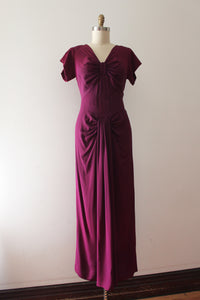 vintage 1940s purple rayon gown