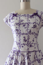 Load image into Gallery viewer, vintage 1950s purple floral cotton dress