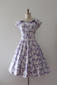 vintage 1950s purple floral cotton dress