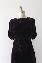 Load image into Gallery viewer, vintage 1930s purple velvet dress