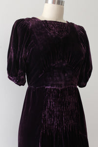 vintage 1930s purple velvet dress