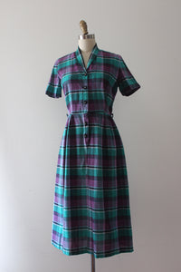 vintage 1940s 50s plaid cotton dress