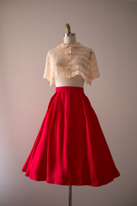 vintage 1960s red acetate skirt
