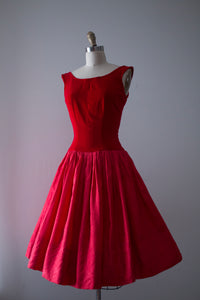 vintage 1950s red party dress