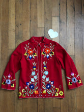 Load image into Gallery viewer, vintage 1940s red embroidered jacket
