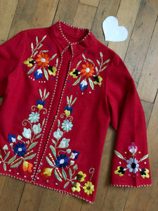 vintage 1940s red embroidered jacket
