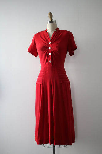 vintage 1940s red rayon dress
