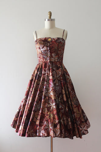 vintage 1950s Alfred Shaheen floral sun dress