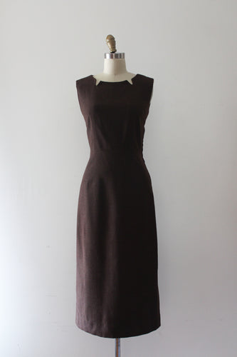 CLEARANCE vintage 1950s brown wool dress
