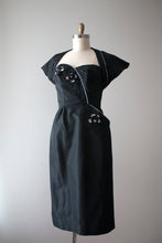Load image into Gallery viewer, vintage 1950s black strapless dress and jacket set