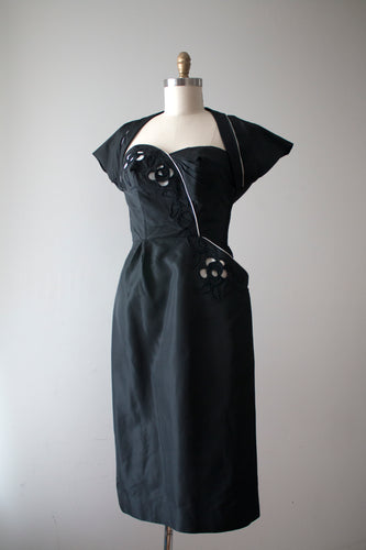 SALE vintage 1950s black strapless dress and jacket set