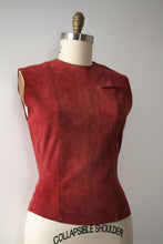 Load image into Gallery viewer, vintage 1950s suede vest top