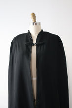 Load image into Gallery viewer, vintage 1930s black wool cape