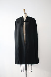 vintage 1930s black wool cape