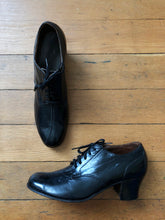 Load image into Gallery viewer, vintage 1930s unique black leather heels