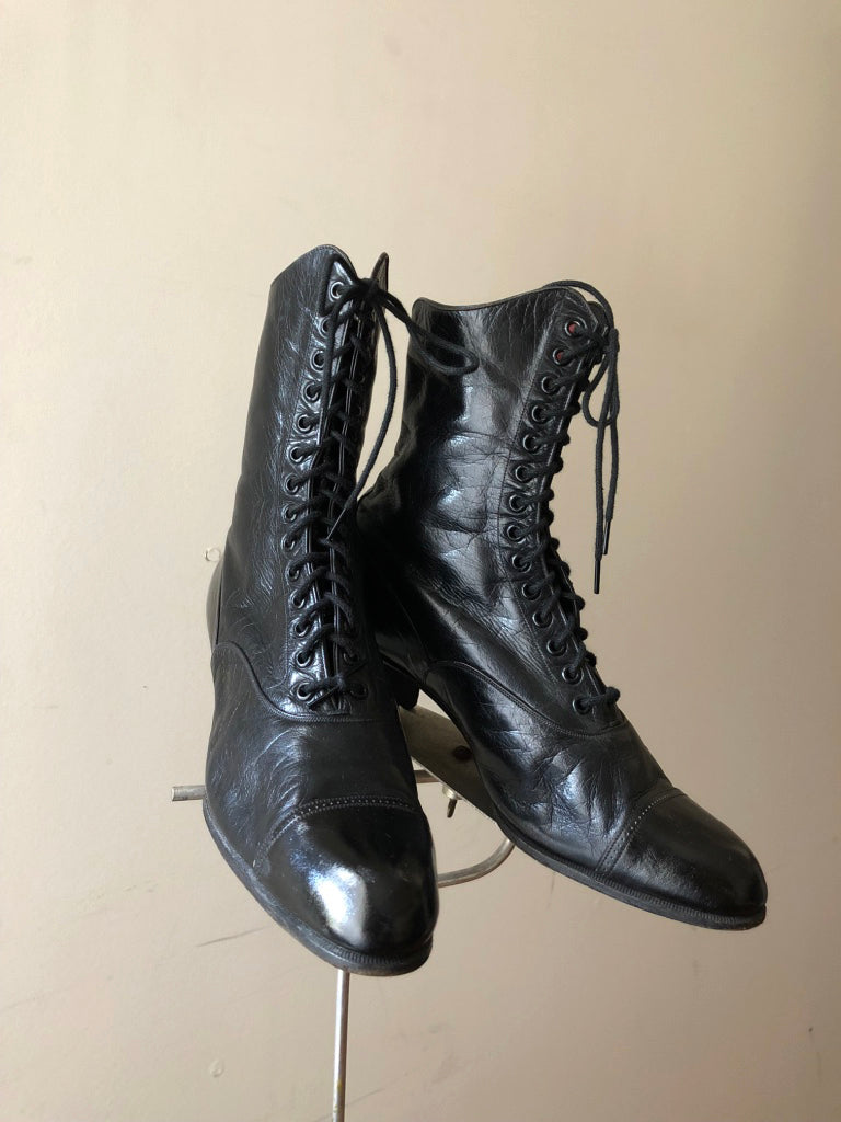 Antique Edwardian black leather boots