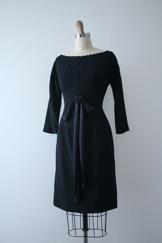 vintage 1950s black wool wiggle dress