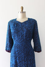 Load image into Gallery viewer, vintage 1940s 50s blue marbling print dress